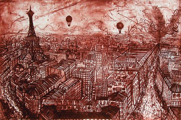 Marco Luccio, Paris Triumphant 1, 2006, Drypoint on Velin Arches paper 80 x 120cm