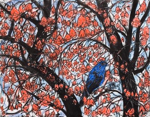 Salvatore Zofrea, Illawarra Flametree, 2008, Hand coloured woodcut print on Japanese Hitachi paper, Edition A/P, 69 x 88.5cm