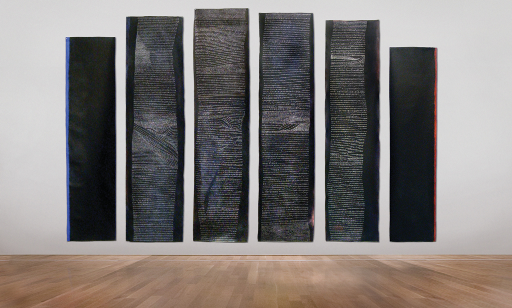 Annette Iggulden, Elegy Echo, 2008 6 pieces: Range from 120cm to 142cm x 30cm to 34cm Installation size variable, minimum 3 metres wall space Acrylic and ink on un-stretched canvas