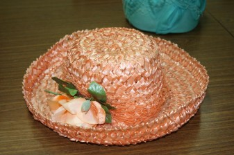 Apricot hat with fabric flower made by Marjorie Wilson (Millinery class)