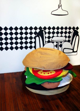 foreground: Deluxe Hamburger by Adam Kelly and Karen Kelly. Wall mural : Cherry Sundae by Clare Hodgins and Amie Galanos