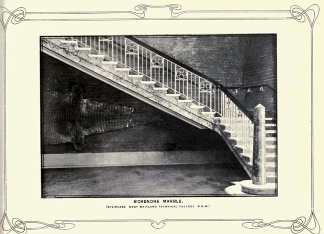 Maitland Regional Art Gallery staircase in 1915 from R.T. Baker, Building and Ornamental Stones of Australia, Sydney, William Applegate Gullick, NSW Government Printer, 1915.