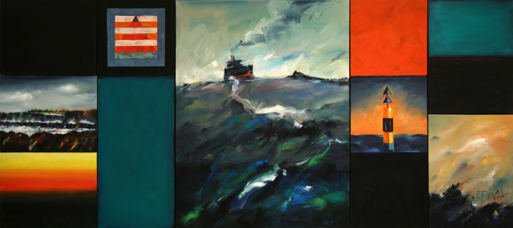 Brian Roberts Leaving Newcastle Harbour, 2009 oil on canvas, 10 panels 122 x 271 cm.