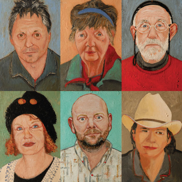 Susan O'Doherty clockwise from top left Euan Macleod, Margaret Olley, Frank Watters, Lucy Culliton, Adam Cullen and Wendy Whiteley, 2006 - 2008, each panel acrylic on canvas 40 x 28cm.