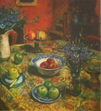 Margaret Olley, Yellow Tablecloth with Cornflowers, 2008, Multi-plate coloured etching, Ed A/P,65.2 x 59.5cm