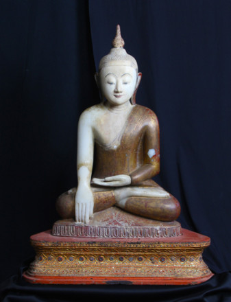 Burmese Buddha, c.1890, alabaster, paint, wood, glass, 78 x 45 x 45cm, Donated through the Australian Government's Cultural Gifts Program