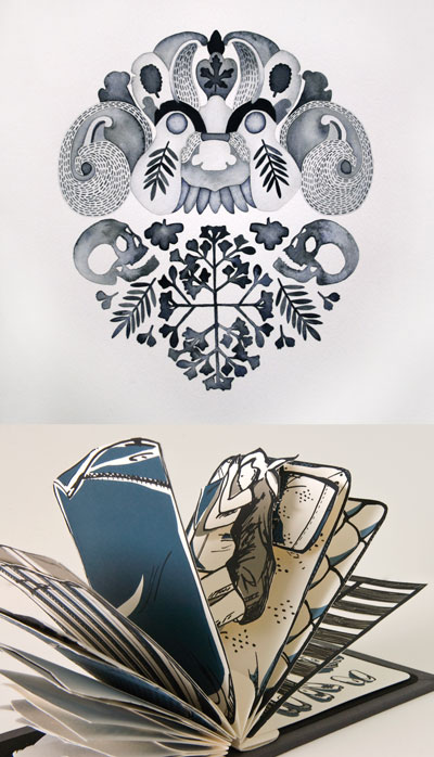 (top) Ben Soedradjit, Mask 2, 2012, watercolour on paper, 45 x 38 cm. (lower) Lisa Kirkpatrick, Comfort Bound, 2009, silkscreen prints, coptic bound, 15 x 11 cm, 11 x 30 x 15 cm (high when opened).