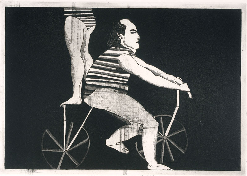 George Baldessin, Performers with bicycles, 1964, etching and aquatint, edition EE1/10, 17 x 25 cm