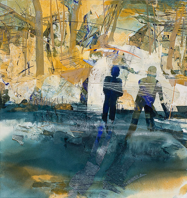 Judith White, Man watching figure with boat I, 2011 Mixed media on canvas 95 X 90cm
