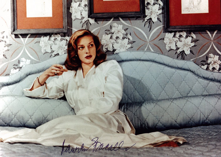 Lauren Bacall, Signed colour photograph, 20 x 25.2cm, Donated to Maitland Regional Art Gallery By Patrick Corrigan in 2011