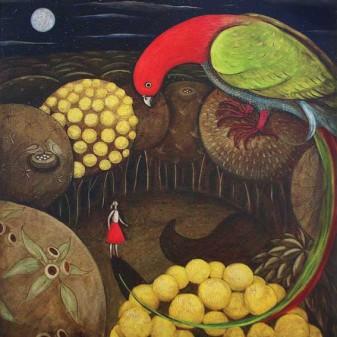 Helen Hopcroft, Moonlight on your beak, 2013, oil on canvas, 60 x 60 cm