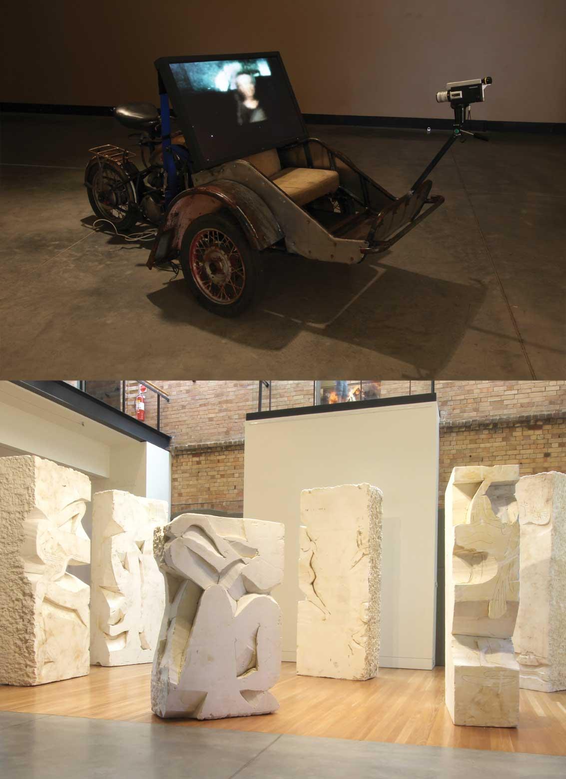 (top) Richard Goodwin, Proof of Consciousness Experiment 2, 2012, mixed media,120 x 260 x 130 cm (lower) Michael Snape, installation shot, Maitland Regional Art Gallery