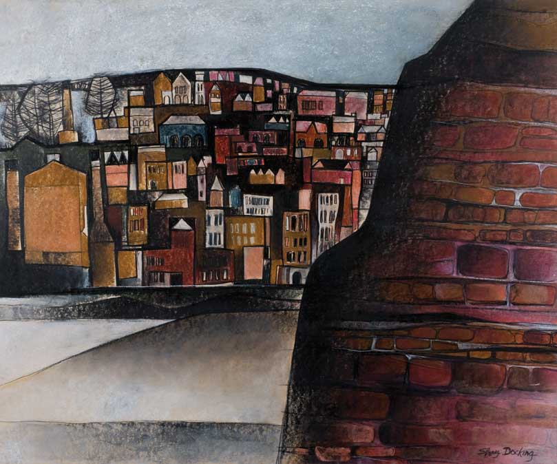 Shay Docking, Fortressed Cliff and City, 1972, pastel and acrylic on hardboard, 77.5 x 94.6 cm, University of Newcastle Art Collection