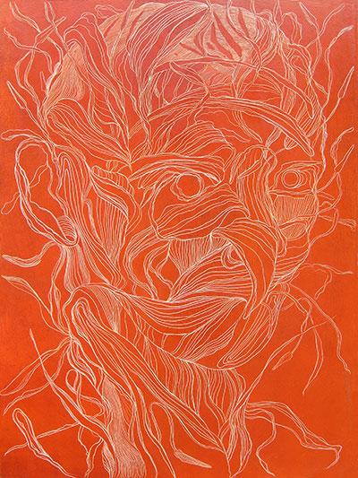 Tony Ameneiro, Sanguine Head - Lily Head (detail) oil on wood panel, diptych, 81 x 61 cm (each panel)