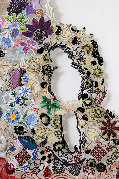 Louise Saxton, Weep, 2009, reclaimed needlework lace, pins, nylon tulle 185 x 360 cm courtesy of the artist and Gould Galleries, Melbourne images courtesy of the artist
