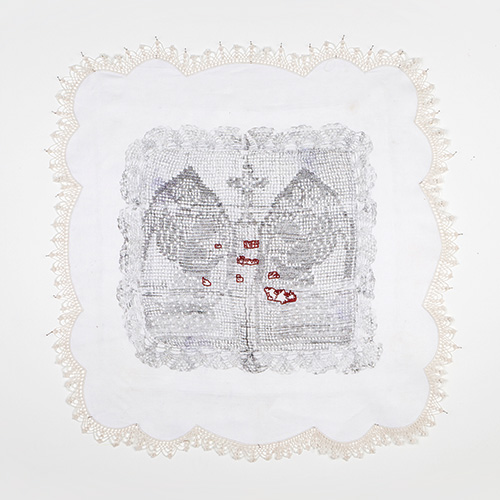 Nicole Barakat, Al Istemraar Al La Moutanahi/the thing that keeps going and has no end/Infinity, 2012, Unpicked embroidered 'traced linen' cotton table cloth, carbon drawing, cotton thread 178 x 95 cm image courtesy of the artist photo by Alex Wisser