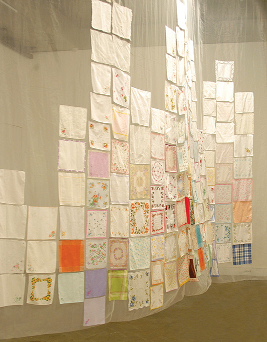Fiona Davies, Memorial / Hanky, 2004 - 2005 fabric found objects 600 x 600 x 300 cm, image courtesy of the artist