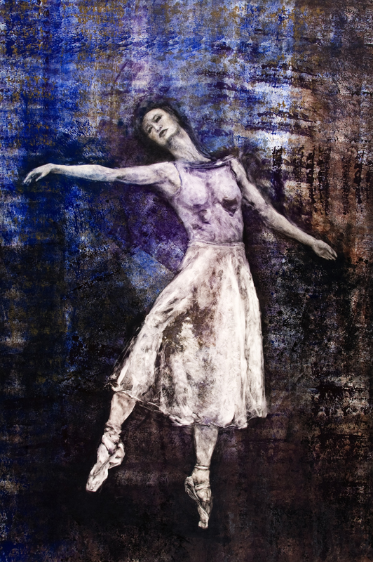 Debra Luccio, En Pointe (2010) Monotype & Etching Ink on Velin Arches 118 x 79cm (Rachael Walsh, Queensland Ballet)