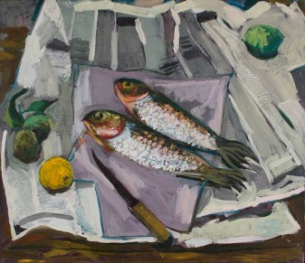 John Ogburn, Mullet on newspaper 1978, oil on canvas, 60 x 70cm, Private Collection © John Ogburn Estate
