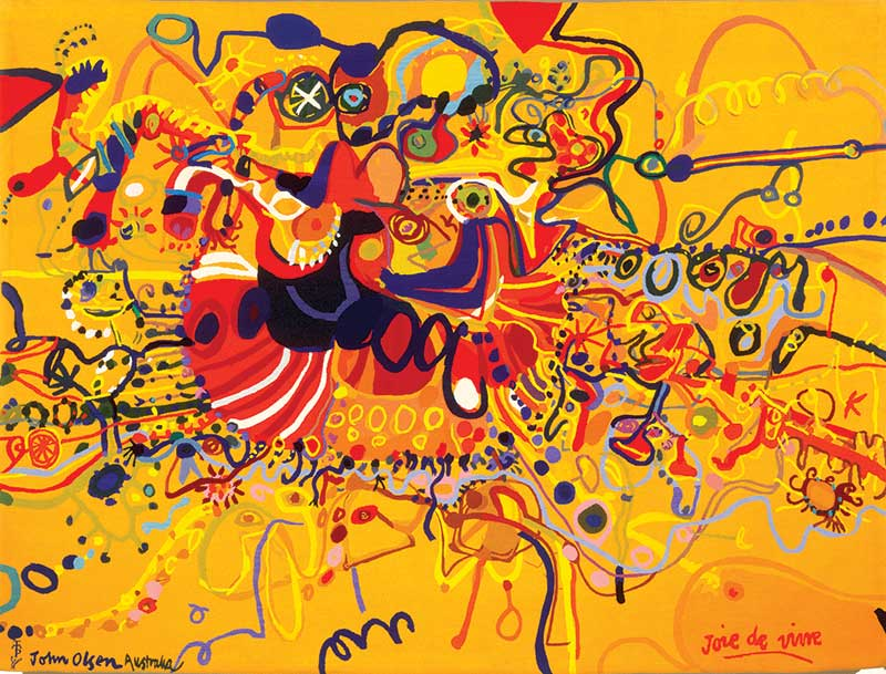John Olsen, Joie De Vivre 1964-1965, woollen tapestry, Portalegre Tapestry Workshop, 180 x 239 cm Collection: Art Gallery of New South Wales, Purchased under the terms of the Florence Turner Blake Bequest 1965