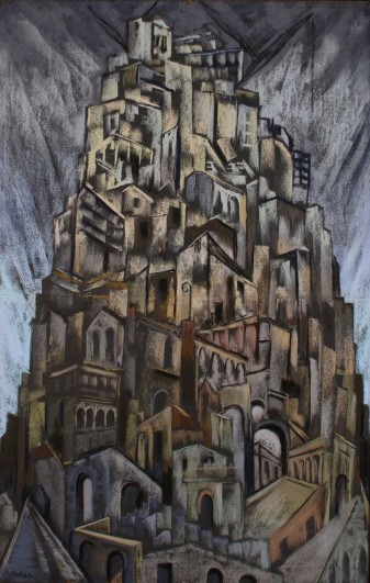 Desiderius Orban, Tower of Babel, 1951, pastel on paper, 99.5 x 63.7cm, Private Collection, © Desiderius Orban Estate
