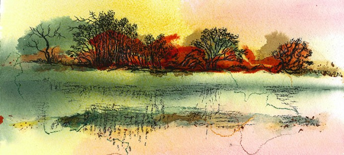 Judy Henry, Myall River, 2014, mixed media, acrylic, charcoal on paper, 38 x 28.5 cm