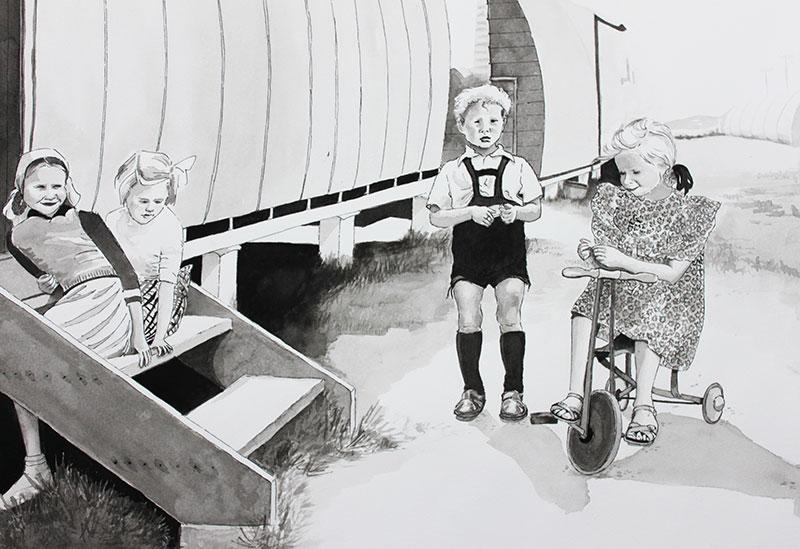 Gail Burrows, children play around steps Greta, ink on paper, 40 x 55cm