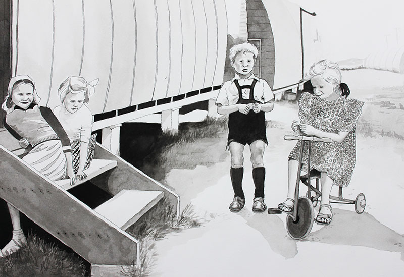 Gail Burrows, children play around steps Greta, ink on paper, 40 x 55cm