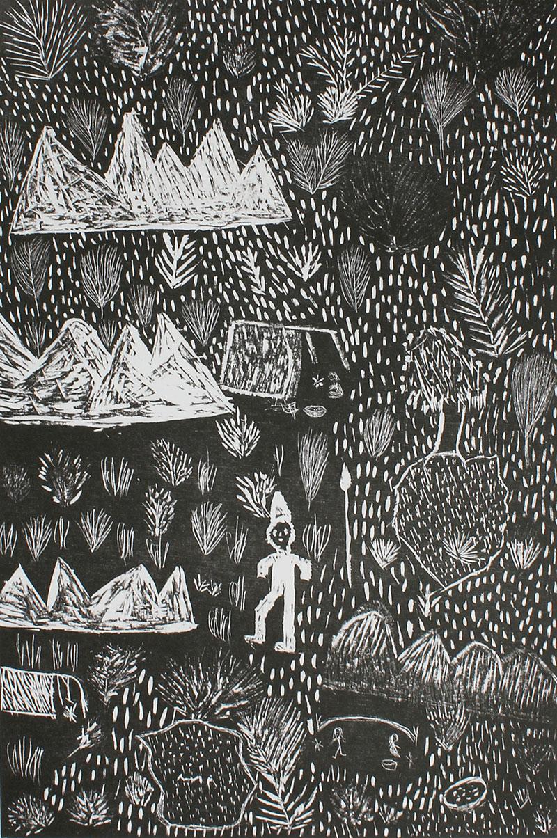 Audrey KNGWARREYE, Untitled, 1990, woodcut on paper, Ed 13/20, 45 x 30 cm