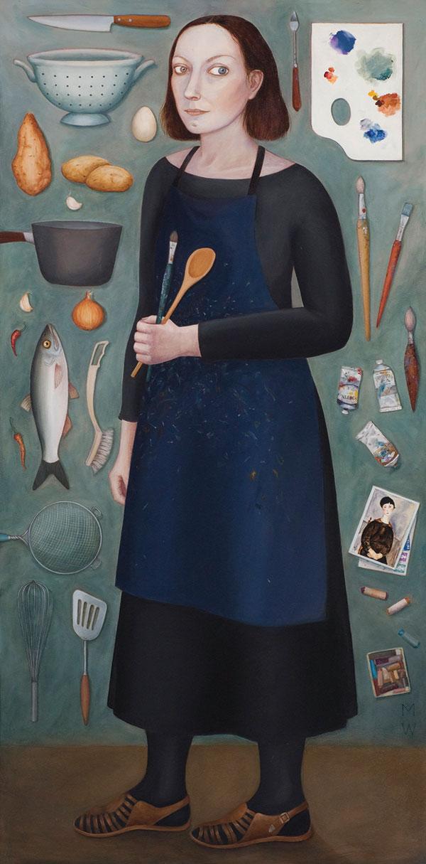 Madeleine Winch, artist / still wife, oil on canvas, 183 x 91 cm