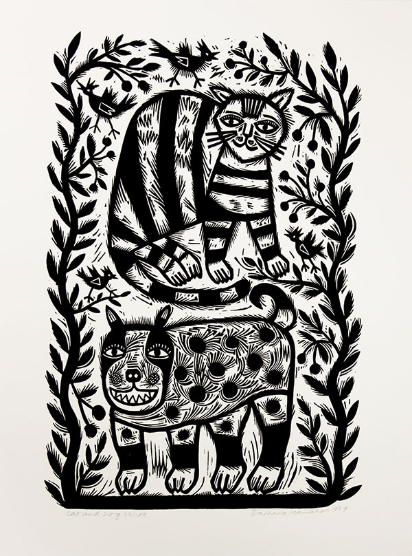 Barbara Hanrahan, Cat and Dog, 1989 Linocut, black ink on ivory Velin Arches paper, 43 x 28 cm, purchased by Maitland Regional Art Gallery, 2012.