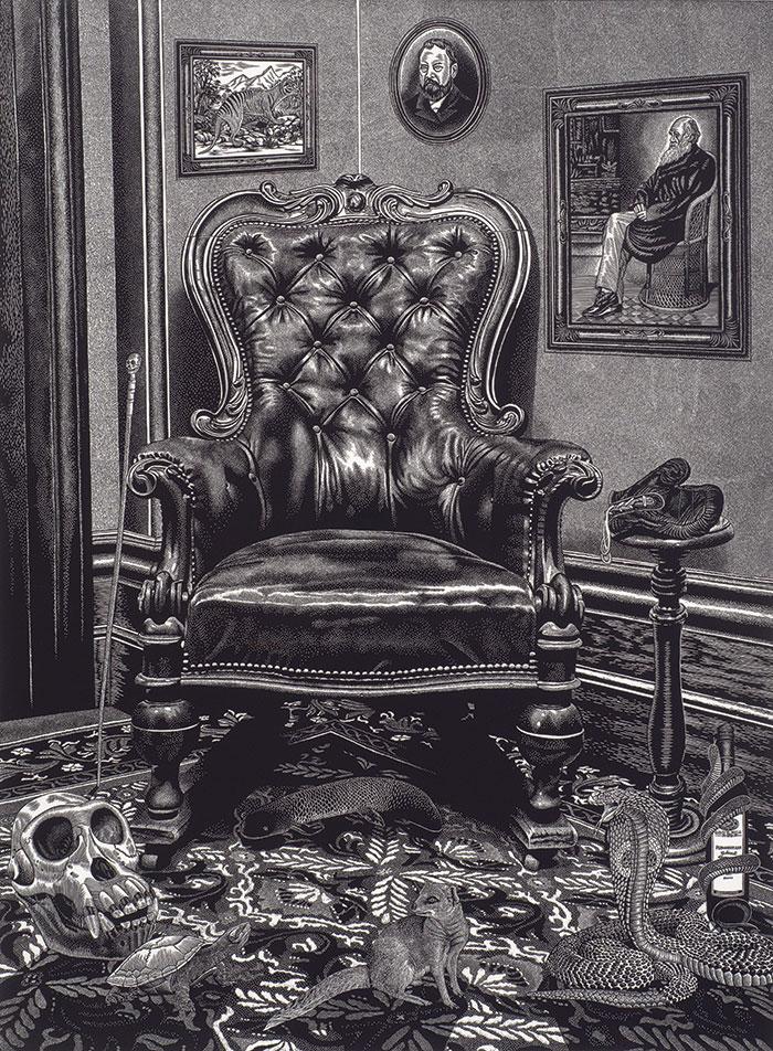 Rew Hanks, Krefft's Chair, 2012 linocut on paper, 102 x 76 cm purchased by Maitland Regional Art Gallery, 2015