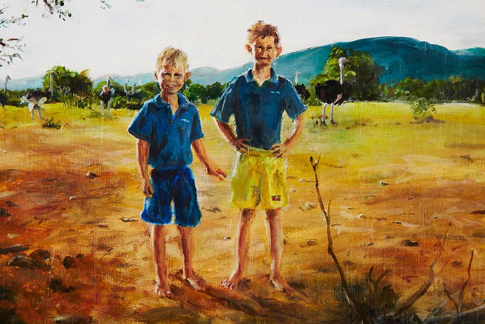 Ebenhaeser le Roux, Pukara Memories of childhood in South Africa ,2014, painting, 30 x 40 cm, St Philip's Christian College, Waratah