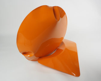 Braddon Snape, Two Act Performance in Orange, Air formed welded steel, epoxy paint, 80 x 75 x 68cm