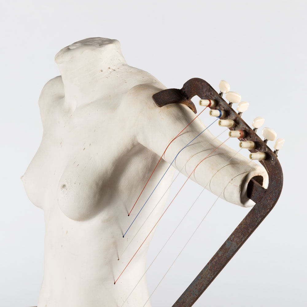 Sylvia Ray, Harp on Lily, 2011, Earthenware clay, wood, musical strings, 56 x 88 x 29cm.