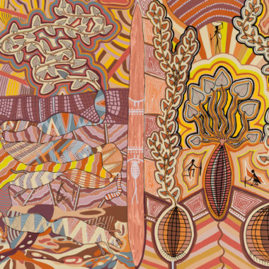 Doris Gingingara , Bush Tucker Dreaming (detail), silk screen on paper, 50.5 x 62 cm, © estate of the artist licensed by Aboriginal Artists Agency Ltd. Maitland Regional Art Gallery Collection. Purchased with the assistance of the Art Gallery Society, 1991