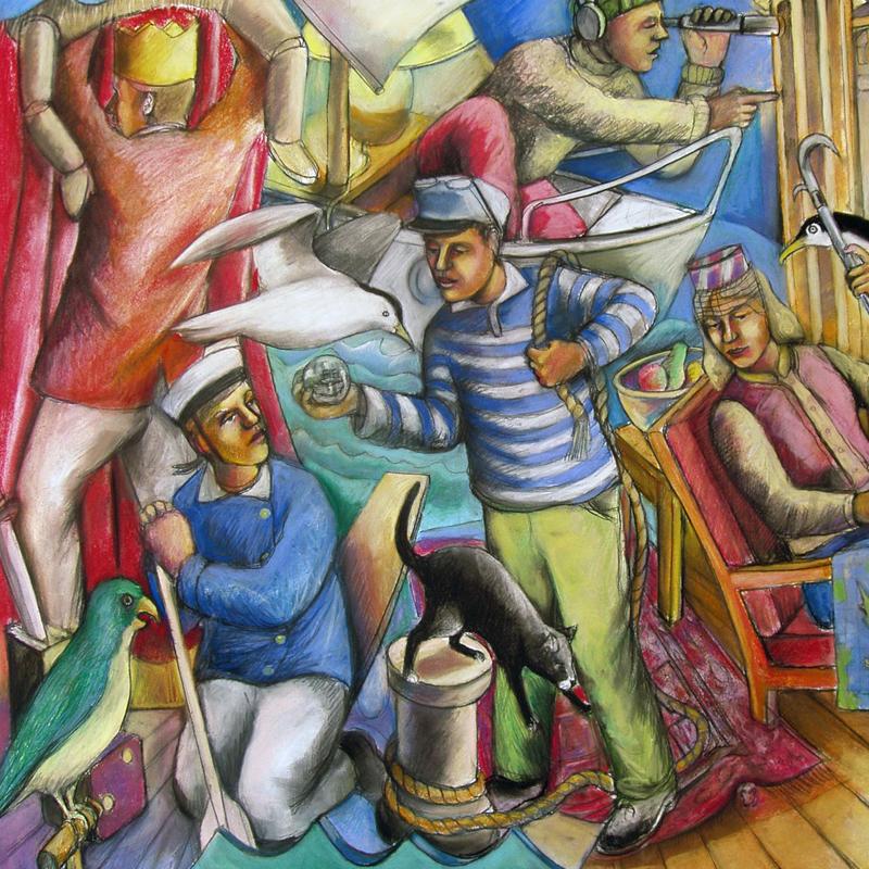 Andrew Antoniou, The Living Room Odyssey, 2016, pastel, 110 x 140 cm