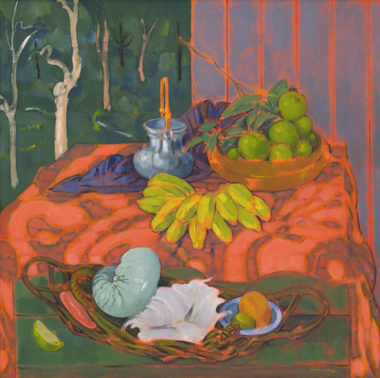 Cutler Footway, Still life with sugar bananas, shells and landscape 2011–14, acrylic on canvas, 90 × 90cm