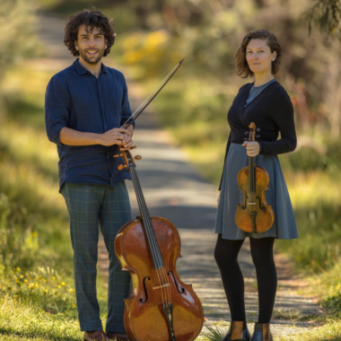 (left) Anthony Albrecht (cello) & (right) Simone Slattery (violin) photography: Muneer Al Shanti