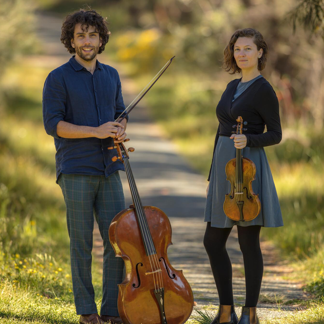 (left) Anthony Albrecht (cello) & (right) Simone Slattery (violin) photography: Muneer Al Shanti