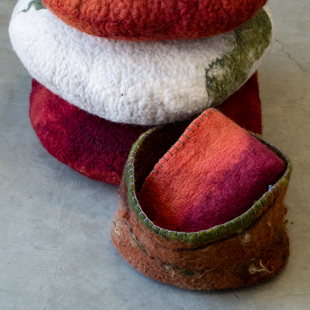 Felt Cushions and vessel by Giselle Penn available in the Gallery Shop.