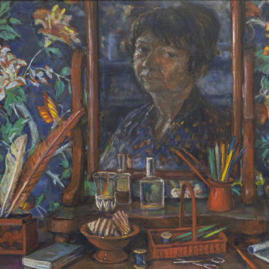Margaret Olley, Bedroom still life (detail), 1997, Oil on board 61 x 91cm, Purchased by Maitland Regional Art Gallery with the assistance of the Art Gallery Society, 1998, Maitland Regional Art Gallery Collection
